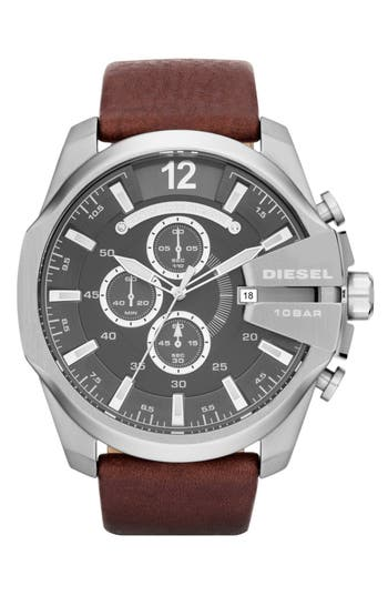 DIESEL® 'Mega Chief' Leather Strap Watch, 51mm