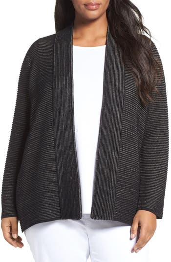 Eileen Fisher Silk Blend Ottoman Knit Cardigan (Plus Size)