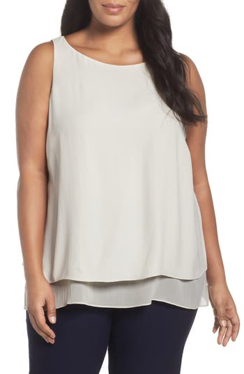 Eileen Fisher Silk Georgette Crepe Tiered Tank (Plus Size)