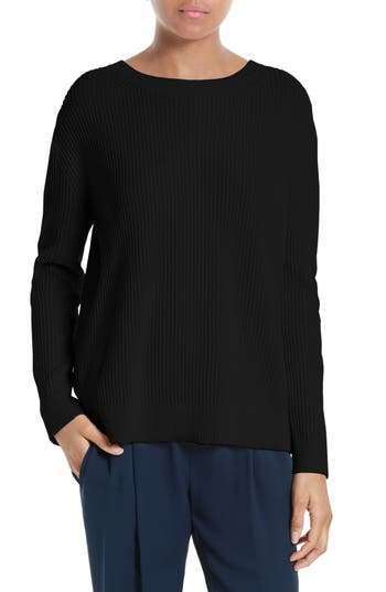 Vince Crossover Tie Back Cashmere & Cotton Sweater