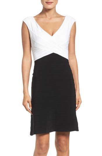 Adrianna Papell Two-Tone Banded Jersey Fit & Flare Dress