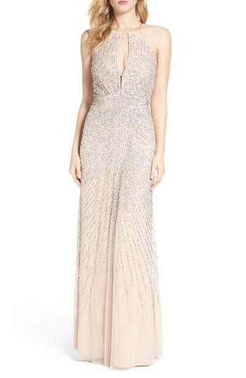 Adrianna Papell Beaded Mesh Fit & Flare Gown