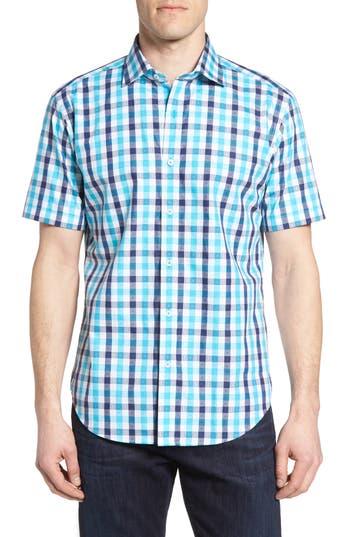 Bugatchi Shaped Fit Dobby Check Sport Shirt