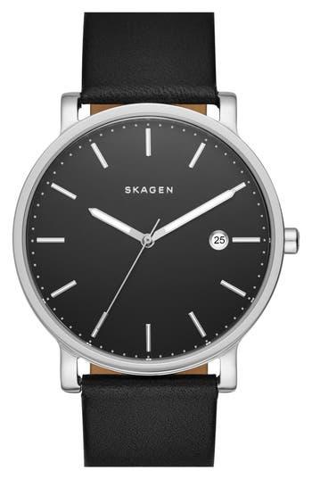 Skagen 'Hagen' Round Leather Strap Watch, 40mm