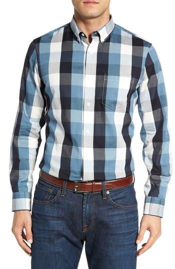 Nordstrom Men's Shop Slim Fit Herringbone Buffalo Check Sport Shirt