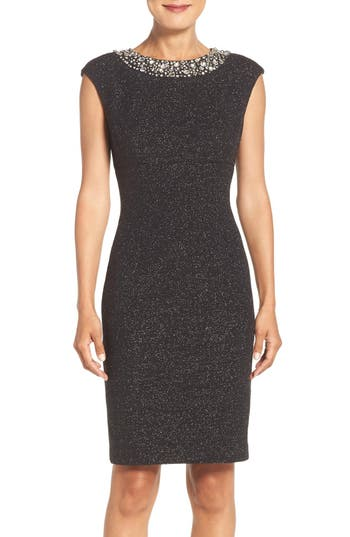 Eliza J Embellished Sparkle Knit Sheath Dress (Regular & Petite)