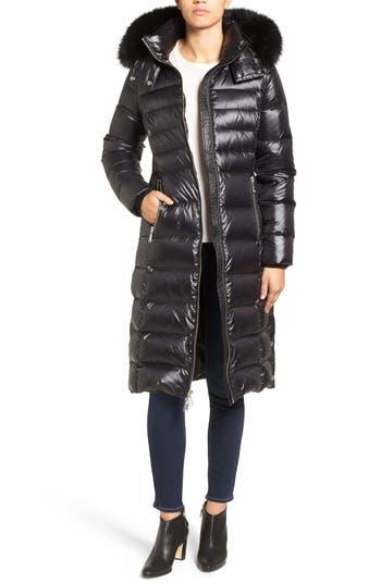 Andrew Marc Down Coat with Genuine Fox Fur Trim
