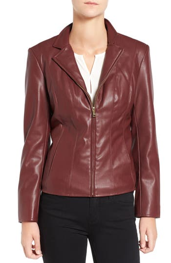 Cole Haan Signature Faux Leather Notched Wing Collar Jacket