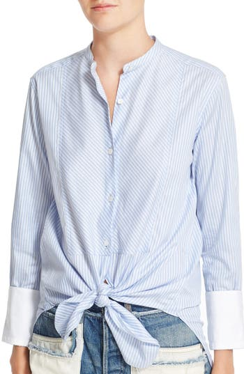 Helmut Lang Stripe Cotton Collarless Oxford