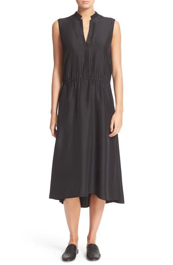Vince Tie Waist Silk Midi Dress