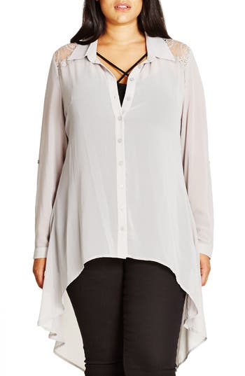 City Chic 'Cheeky Cowl' High/Low Shirt (Plus Size)