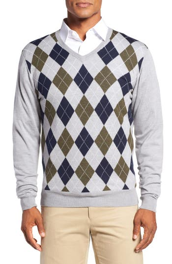 Bobby Jones Argyle Merino Wool V-Neck Sweater