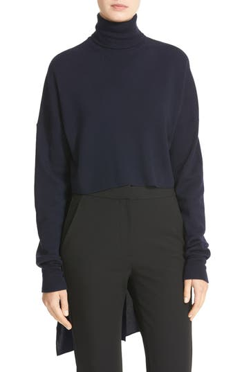 Tibi Split Silk Back Merino Wool Turtleneck Pullover