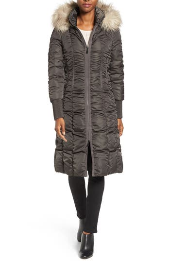Tahari Elizabeth Faux Fur Trim Hooded Long Coat