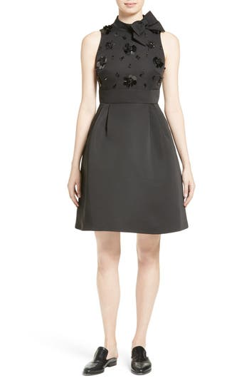 kate spade new york embellished structured fit & flare dress