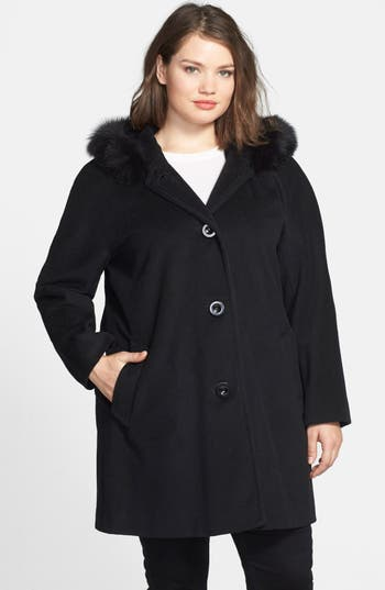 Ellen Tracy Kimono Sleeve Jacket with Genuine Fox Fur Trim (Plus Size)