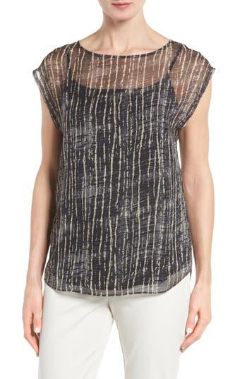 Eileen Fisher Streaky Plaid Crinkled Silk Top