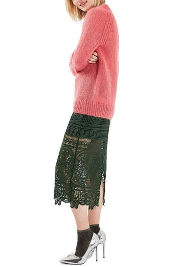 Topshop Lace Midi Skirt