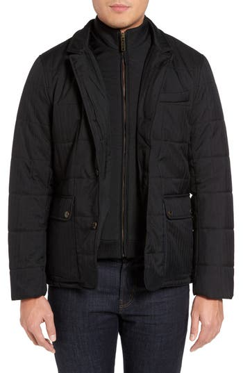 Ted Baker London Jasper Trim Fit Quilted Jacket with Removable Bib