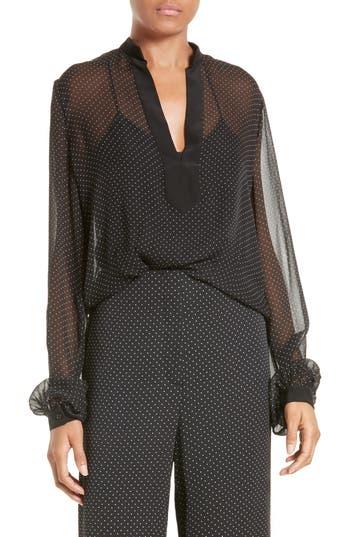 Diane von Furstenberg Dot Print Sheer Silk Blouse