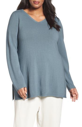 Eileen Fisher Sleek Tencel® Lyocell Texture Knit Tunic (Plus Size)