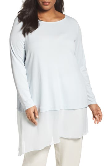 Eileen Fisher Stretch Silk Jersey & Crepe Tunic (Plus Size)