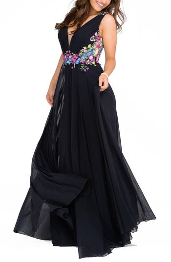 JNV by Jovani Floral Embroidered Ballgown