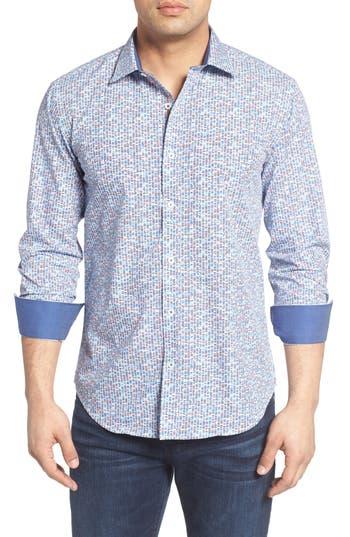 Bugatchi Shaped Fit Geo Print Sport Shirt (Tall)