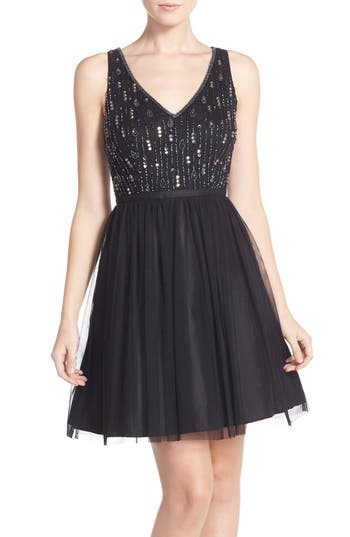 Adrianna Papell Beaded Tulle Party Dress