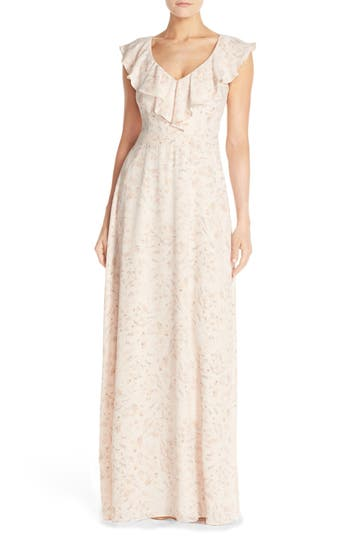 Paper Crown by Lauren Conrad Print Crepe Ruffle V-Neck Gown