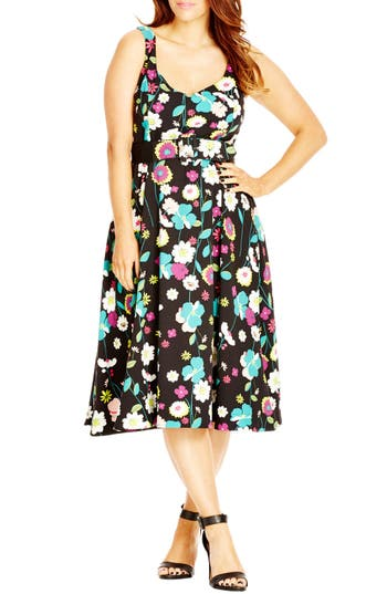 City Chic 'Fresh Floral' Belted Print Sweetheart Neck A-Line Dress (Plus Size)