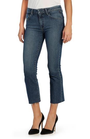 PAIGE 'Colette' High Rise Raw Hem Crop Flare Jeans (Katiya)