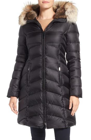 Dawn Levy Daphne Long Quilted Down Coat with Genuine Fur Trim