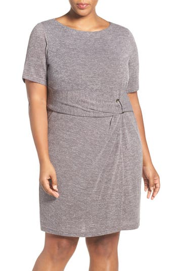Ellen Tracy Buckle Detail Knit Sheath Dress (Plus Size)