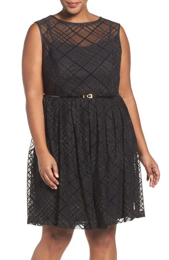 Ellen Tracy Plaid Mesh Fit & Flare Dress (Plus Size)