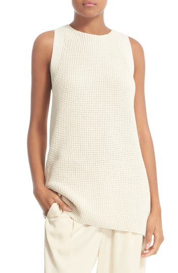 Vince Waffle Stitch Cotton Tunic Sweater
