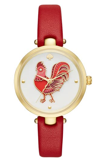 kate spade new york holland rooster leather strap watch, 34mm