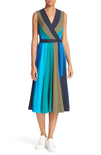 Diane von Furstenberg Penelope Colorblock Wrap Fit & Flare Dress
