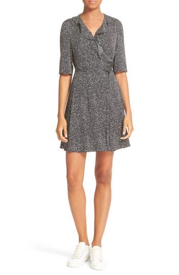 Diane von Furstenberg Savilla Print Silk Ruffle Neck Wrap Dress