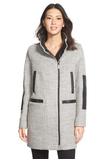 Vince Camuto Faux Leather Trim Bouclé Coat