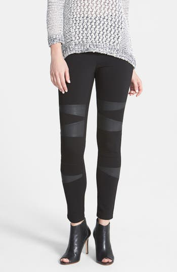 Two by Vince Camuto Faux Leather Trim Moto Leggings