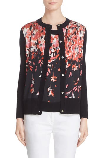 St. John Collection Black Flamingo Dégradé Floral Print Cardigan