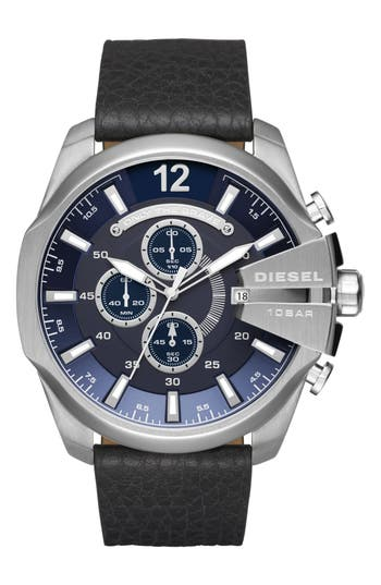 DIESEL® Mega Chief Chronograph Leather Strap Watch, 51mm
