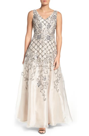 Adrianna Papell V-Neck Organza Gown