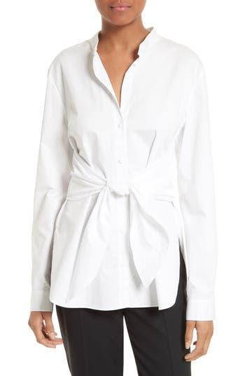 Tibi Satin Poplin Tie Front Shirt