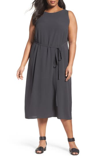 Eileen Fisher Silk Georgette Crepe Midi Dress (Plus Size)