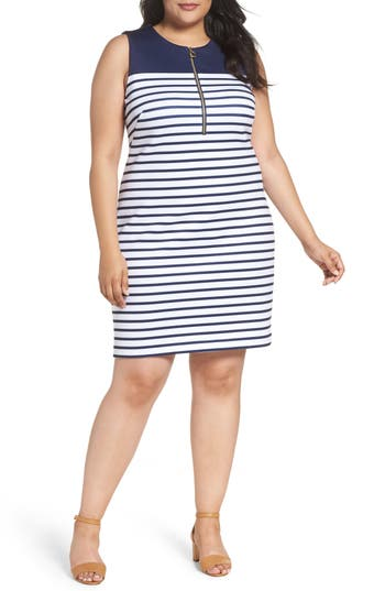 MICHAEL Michael Kors Norwood Stripe Sheath Dress (Plus Size)