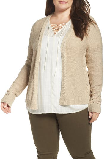 Lucky Brand Open Stitch Open Front Cardigan (Plus Size)