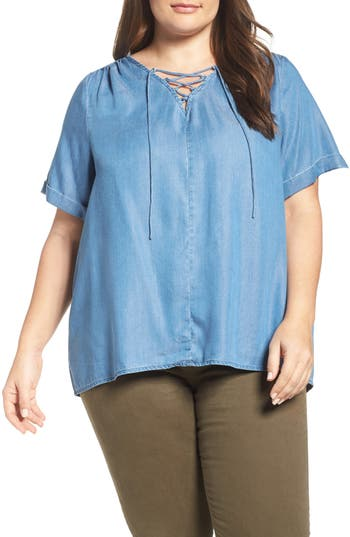 Lucky Brand Lace-Up Chambray Top (Plus Size)