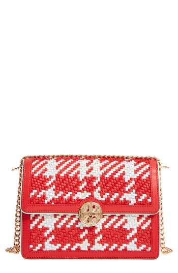 Tory Burch Duet Woven Leather Shoulder Bag